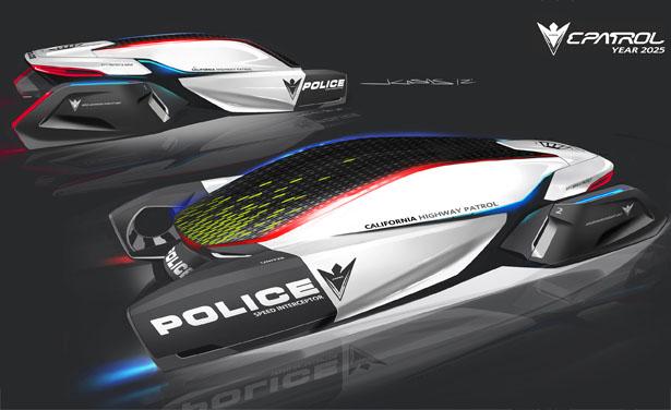 DesignworksUSA E-Patrol: футуристический полицейский концепт Human-Drone
