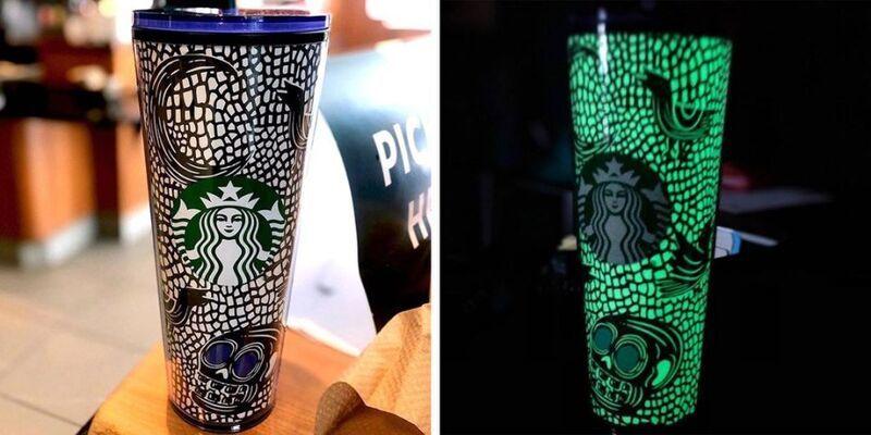 Светящийся в темноте стакан Starbucks прибывает на Хэллоуин